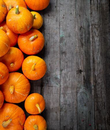 Autumn background for text with pumpkins. Top view. Copy space. Stock fotó