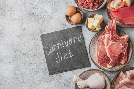 Selection food for CARNIVORE DIET. Seafood, Meat, megs and fat. Zero carbs diet concept. Stock Photo