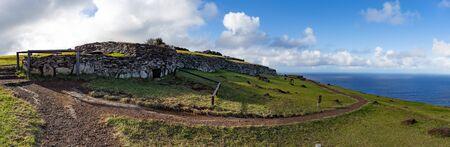 Easter Island, Rapa Nui. Ceremonial Orongo Villadge on Rano Kau volcano