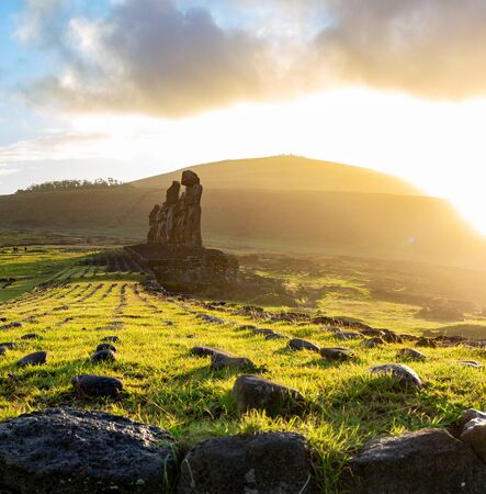 Easter island landscape. Ahu Tongariki. Panoramic view Papa nui Фото со стока