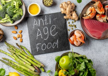 Anti Aging food concept. Clean eating, top view. Stock Photo