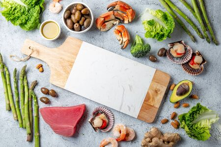 Healthy Clean eating concept. Vegetables, seafood, oil, Food background with copy space. Stok Fotoğraf