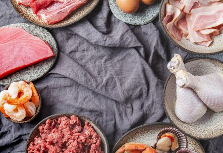 Selection protein sources. Seafood, Meat, megs and fat. Zero carbs diet concept. Stock Photo