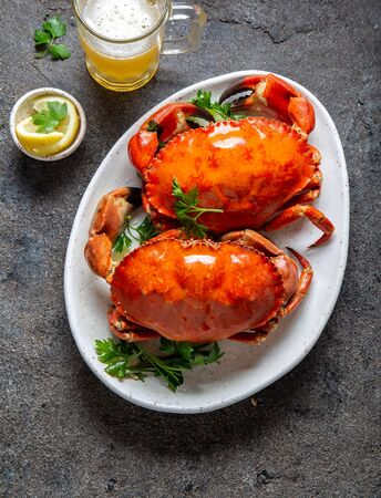Whole cooked  crabs on white plate with lemon and beer. Gray concrete background. Top view