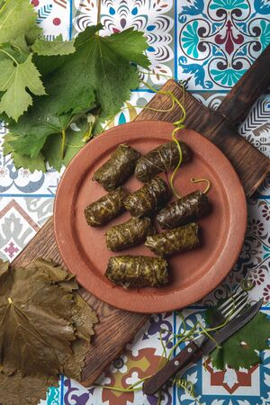 Latin American Mexican Chilean cuisine. Ninos envueltos Wrapped children. Grape leaves stuffed wish meat on clay plate. Talavera ceramic background