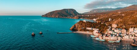 Aerial drone panoramic view landscape of South Cost of Crimea.