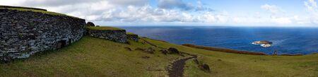 Easter Island, Rapa Nui. Ceremonial Orongo Villadge on Rano Kau volcano.