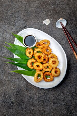 Fried squids rings on white plate decorated with tropical leaves, gray concrete background, top view Stock fotó