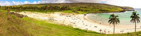 Anakena beach. Papa nui Easter Island. Panoramic view landscape. 스톡 콘텐츠
