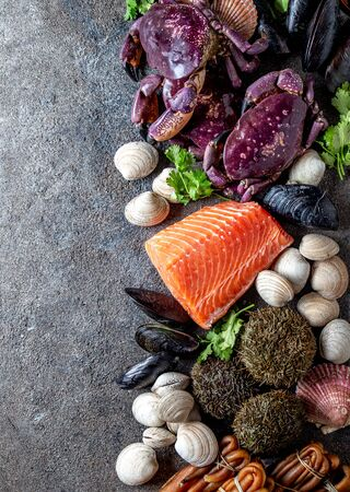 PACIFIC SEAFOOD. Fresh salmon, crabs ostions clams mussels, seaweed cochayuyo, sea urchins. Food background with copy space. 스톡 콘텐츠
