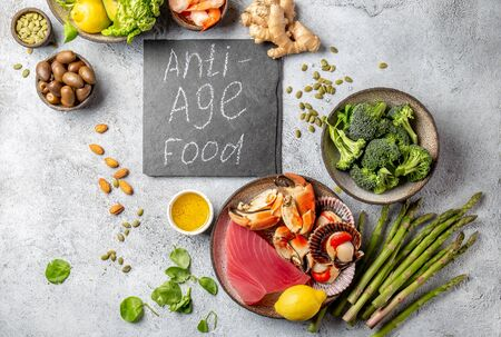 Anti Aging food concept. Clean eating, top view. Zdjęcie Seryjne