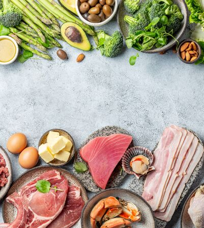 KETOGENIC DIET LOW CARB CONCEPT. Vegetarian and animal protein, carb and fat sources. Healthy food background with copy space.