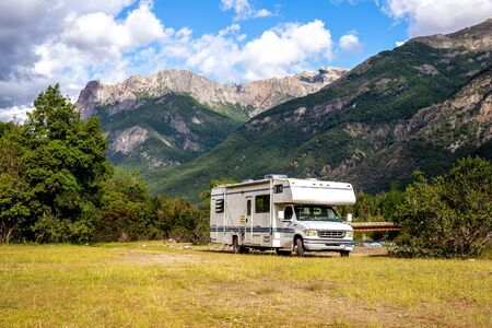Motorhome in Chilean Argentine mountain Andes. Family trip travel vacation on Motorhome RV in Andes Stock fotó