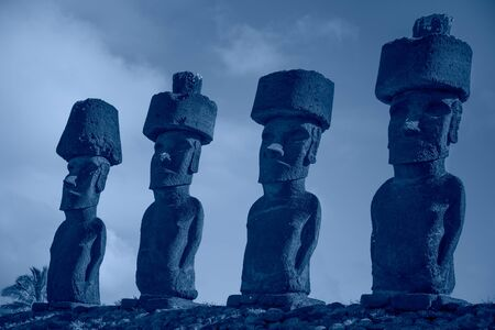 Color of the year Classic Blue. Easter Island moai background.