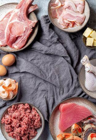 Selection food for CARNIVORE DIET. Seafood, Meat, megs and fat. Zero carbs diet concept. Reklamní fotografie