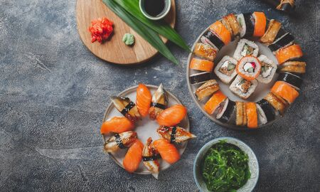 Sushi and rolls sets. Japonese food. top view.