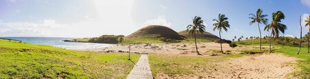 Anakena beach. Papa nui Easter Island. Panoramic view landscape. Stok Fotoğraf