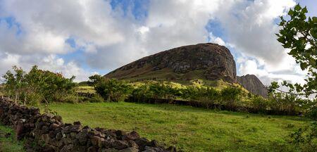 Easter Island. Volcano Ranu Raraku moai quarry on Rapa Nui.