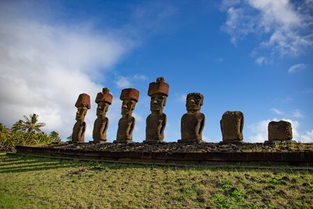 Moai on Anakena Beach on Easter Island Rapa Nui.