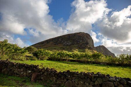 Ranu Raraku Volcano. Easter Island Rapa Nui landcape. Stok Fotoğraf