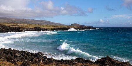 Easter Island landscape. Pacific ocean coast Rapa Nui. Stok Fotoğraf