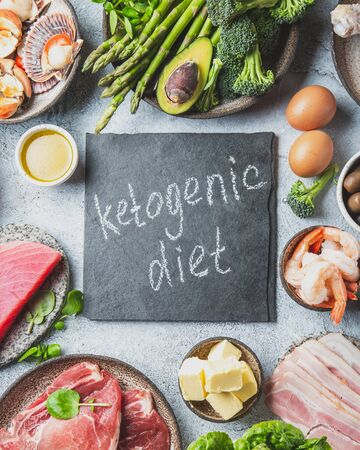 KETOGENIC DIET CONCEPT. Healthy low carb product background. Top view. Zdjęcie Seryjne