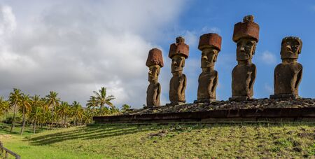 Moai on Anakena Beach on Easter Island Rapa Nui.