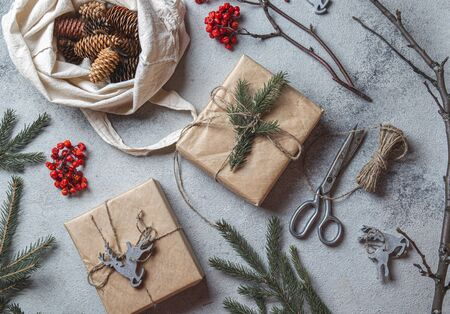 Zero waste Christmas concept. Natural Chirsmas decoration and Hand crafted gifts without plastic. Flat lay, top view Zdjęcie Seryjne