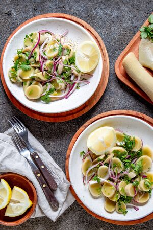 SEAWEED ULTE or HULTE. Chilean ulte salad ceviche with purple onion, coriander and lemon juice. Pacific edible seaweed