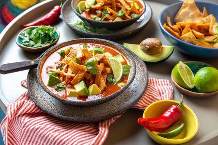 Aztec soup. Close up of mexican tortilla soup Sopa Azteca.