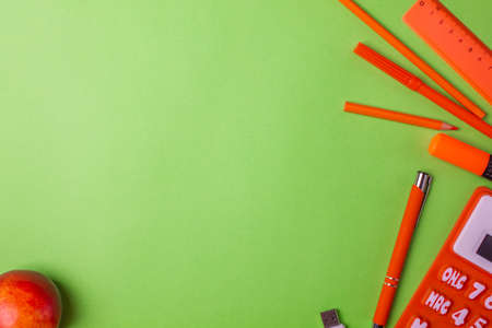 School supplies on colorfull background. Copy space