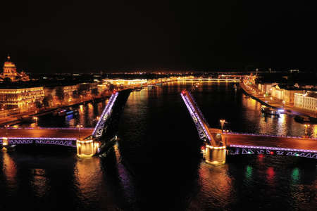 Neva river. Palace Bridge in the nigth. St.-Petersburg, Russia