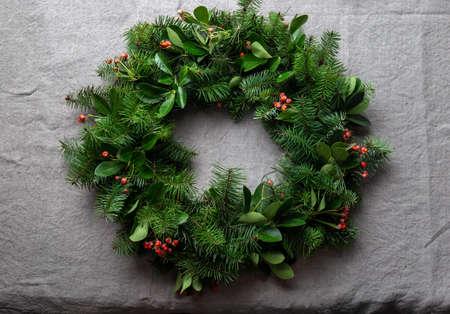 Christmas decoration pine tree wreath. zero waste concept