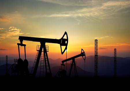 jack pump: jack pump and oil field polluting the environment