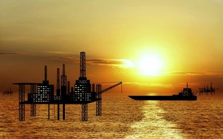 oil platform: oil platform and oil tanker on sunset