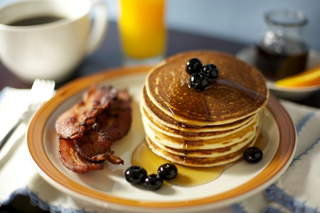 coffee berry: Pancake, Bacon and Berry Breakfast with Coffee and Juice