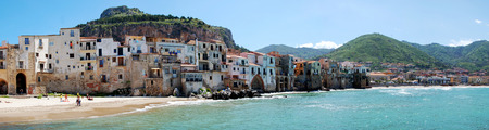 sicilia: panoramic view of the town of Cefalu, Sicilia, from the seaside Stock Photo