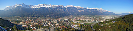 panoramic view across the town of Innsbruck and the hills of the Nordkette,Tyrol,Austria. photo