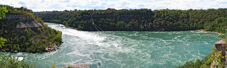 niagara river: panoramic view across the Whirlpool rapids of the Niagara river,Ontario, Canada.
