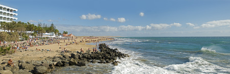 Panoramic view of the beach of Playa del ingles on Grand Canary, Canary islands, Spain Standard-Bild