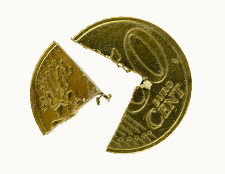 2 50: 50 Euro-Cent coin cutted in two pieces Stock Photo