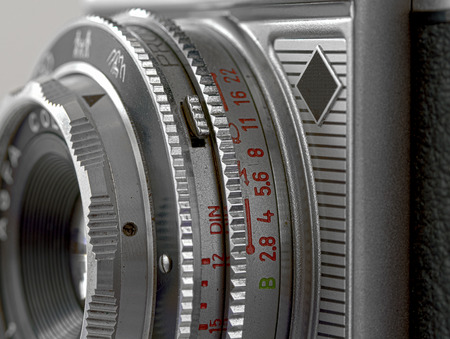 rangefinder: Lens of a range-finder camera with program exposure, Germany, 1960 Stock Photo