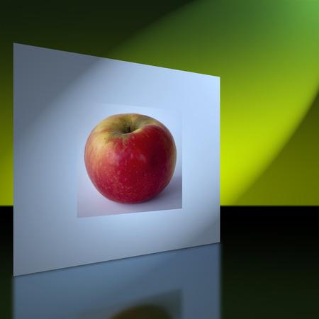 pared iluminada: pared iluminada con la imagen de una manzana roja