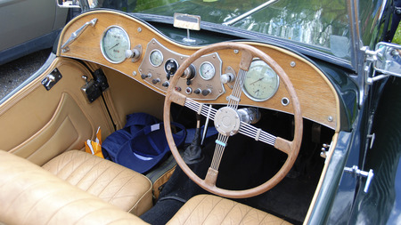 roadster: dashboard of an open english roadster classic car