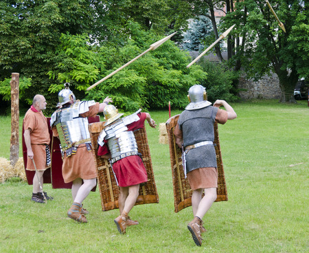 legionaries: drill of roman legionaries, Roman festival 2014, Carnuntum, Austria