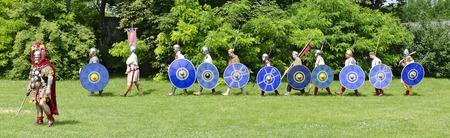 legionaries: marching-in of the group Gentes Danubii, Roman festival 2014, Carnuntum, Austria