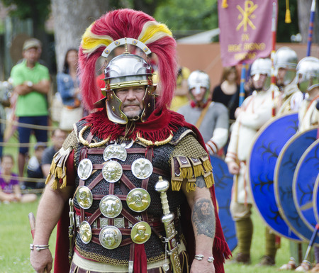 legionaries: commander of the roman camp, Roman festival 2014, Carnuntum, Austria Editorial