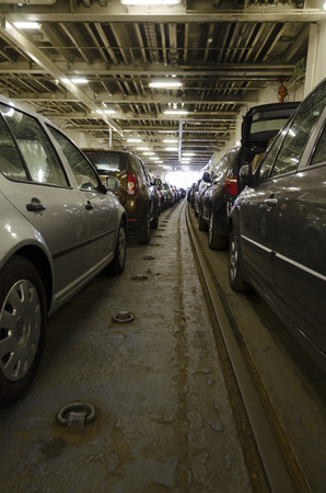 consign: car deck of a former train ferry, Denmark Stock Photo