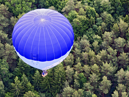 hotair: Top view on a blue and white hot-air balloon  hovering about a wooded area