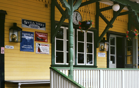 narrow gauge railroad: railway station Mariefred of the narrow-gauge heritage railway ?stra S?dermanlands J?rnv?g, Sweden